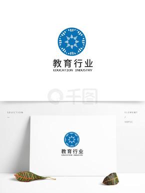 蓝色规则几何变换教育行业logo