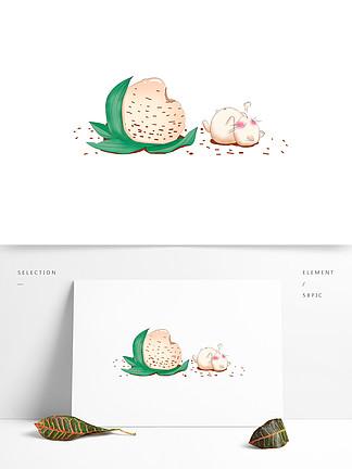 手绘创意吃粽子的兔子插画设计