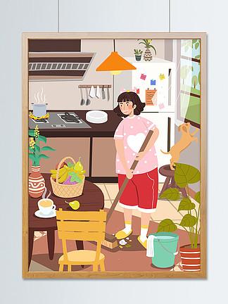 五一劳动节女孩打扫卫生劳动最光荣