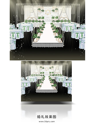 绿色大理石婚礼效果图