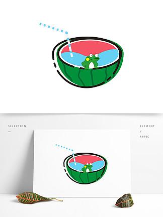 可爱西瓜装饰元素