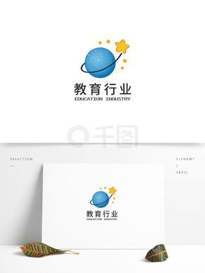 教育行业蓝色星球星星图形教育行业logo