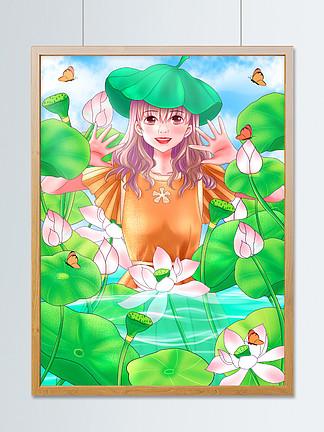 原创手绘插画青年节女孩站在荷花池里玩耍