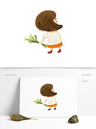 手绘可爱拿着一撮水稻的女孩