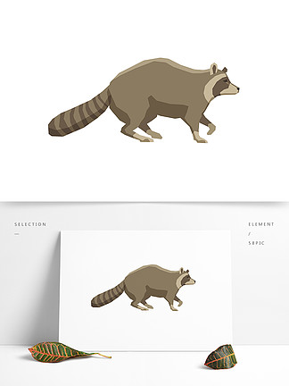 动漫卡通手绘动物插画卡通矢量免扣袋熊