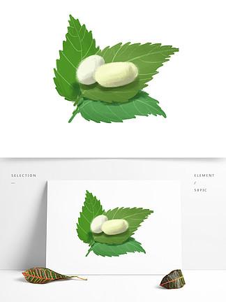 原创小清新手绘小满桑叶与蚕茧
