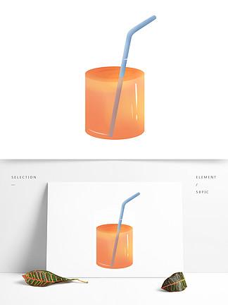 手绘杯子里的一杯橙汁