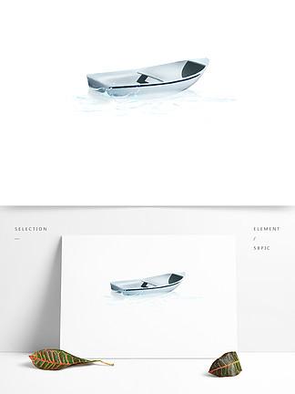 手绘水里的一艘船