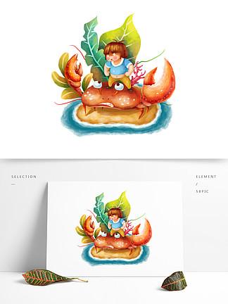 可商用卡通手绘可爱胖胖儿童想吃螃蟹
