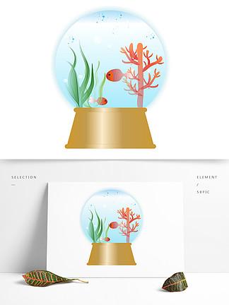 手繪精美精致音樂水晶球海底系列矢量圖