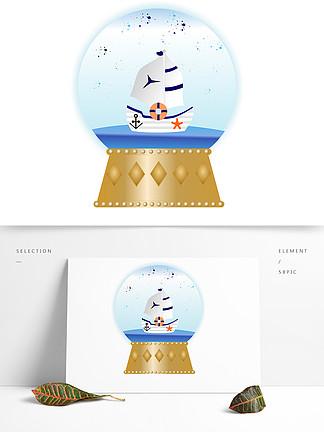 手繪精美音樂盒水晶球航海船系列矢量圖