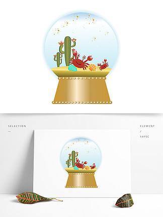 手繪精美精致音樂盒水晶球沙灘螃蟹矢量圖