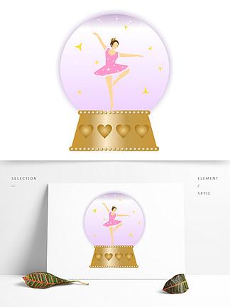 手繪精美芭蕾舞女孩音樂盒水晶球矢量圖