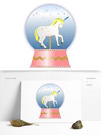 手繪精美獨角獸白馬音樂盒水晶球矢量圖