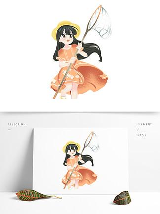 手绘清新抓蝴蝶的女孩子