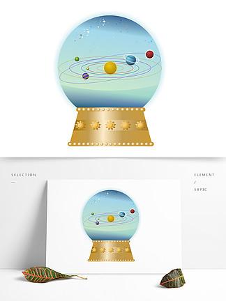手繪音樂盒水晶球太空星球系列矢量圖