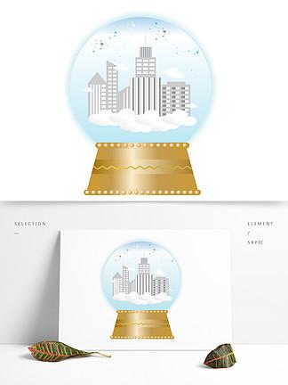 手繪音樂盒水晶球空中城市系列矢量圖