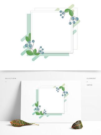 薄荷綠手繪折紙花卉植物卡通邊框對話框