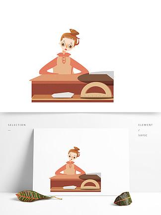 手繪卡通女孩圖案設計