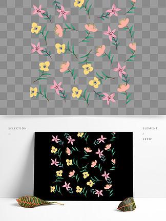 创意小清新手绘风花卉装饰图案
