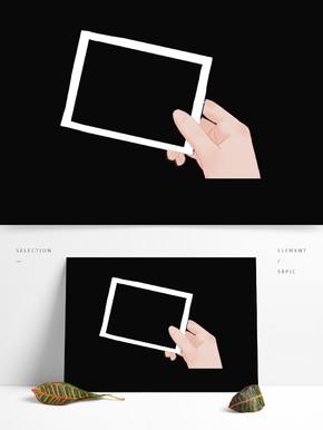 手绘的手持白色框素材