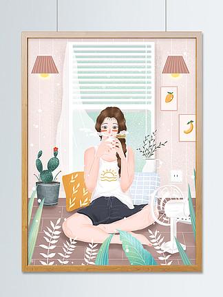 小清新24节气之大暑小女孩饮伏茶插画