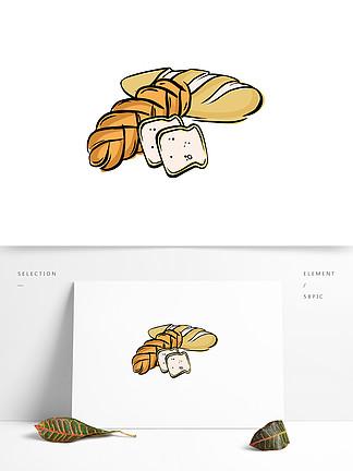 手绘卡通面包元素