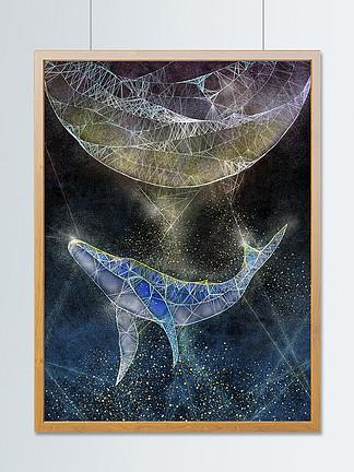 透明透气感趋势插画鲸鱼与月亮