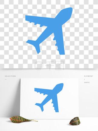 手绘卡通蓝色飞机png元素