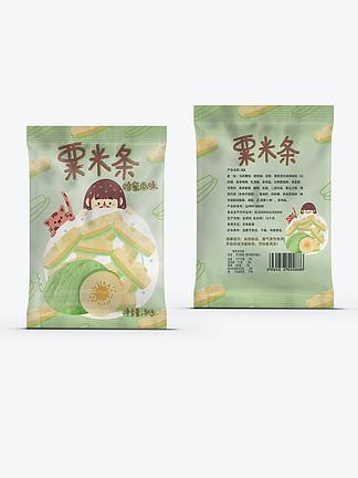 膨化食品创意卡通栗米条插画休闲零食包装
