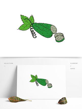 手绘卡通蔬菜苦瓜