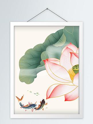 新中式水墨风格手绘素雅禅意荷花装饰画