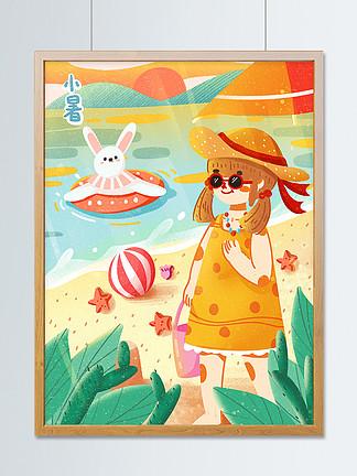 创意小暑海边度假卡通扁平游泳治愈小清新