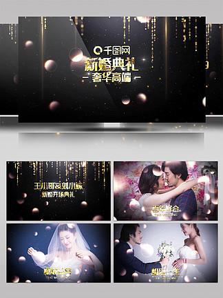 金色粒子奢华婚礼婚庆开场视频片头模板