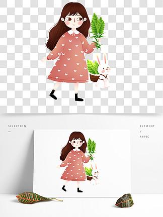 手繪卡通女孩與兔子設計元素