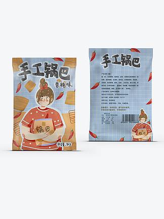 手工锅巴香辣口味辣椒膨化食品包装可爱卡通