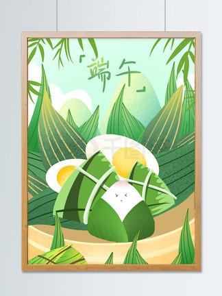 唯?#34013;?#21320;节粽子节小清新创意插画