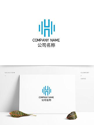 线条矩形蓝色创意科技商务LOGO简约标志