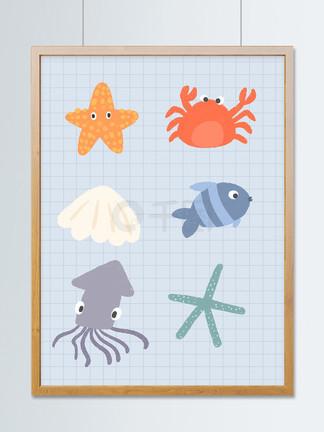可爱卡通海洋动物元素插画