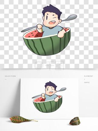 夏?#37327;?#29233;男孩吃西瓜