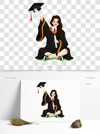 清新唯美穿着博士服拍照的毕业生