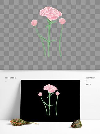 原创手绘插画手绘花卉植物元素小清新