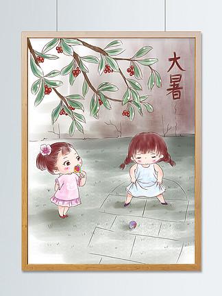 原創卡通手繪女孩夏日清涼海報大暑小暑節氣