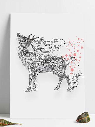 几何线条麋鹿设计元素图案