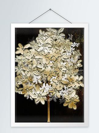 现代简约黑金质感浮雕发财树装饰画