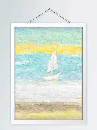 现代简约手绘清新自然文艺油画装饰画