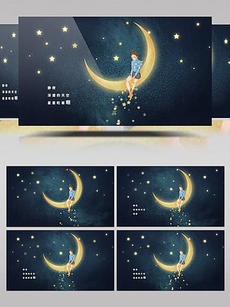 唯美小清新月亮女孩AE模板