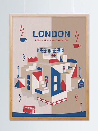 裁紙立面插畫折紙賀卡倫敦城市建筑立體折疊