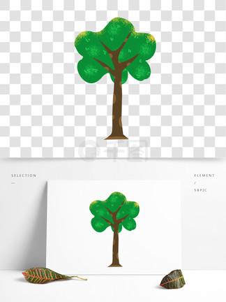 卡通绿色植物插画元素