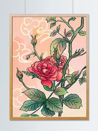 复古中国风手绘山茶花插画